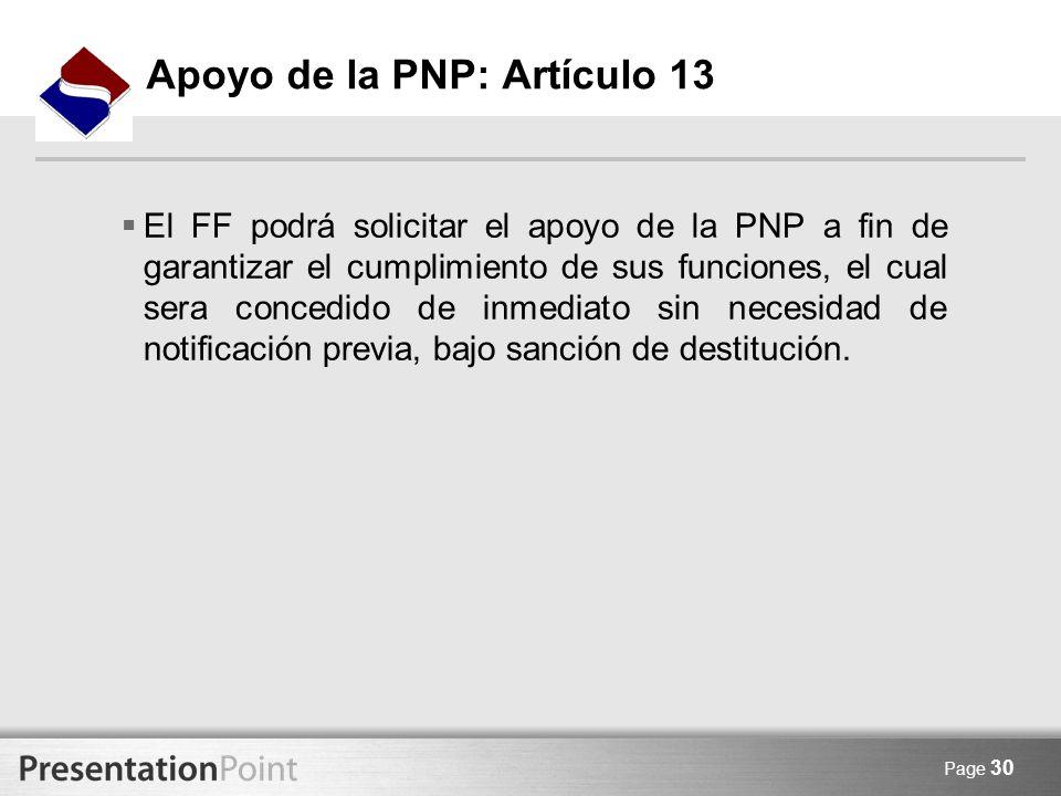 Apoyo de la PNP: Artículo 13