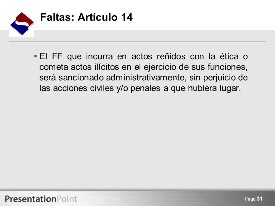 Faltas: Artículo 14