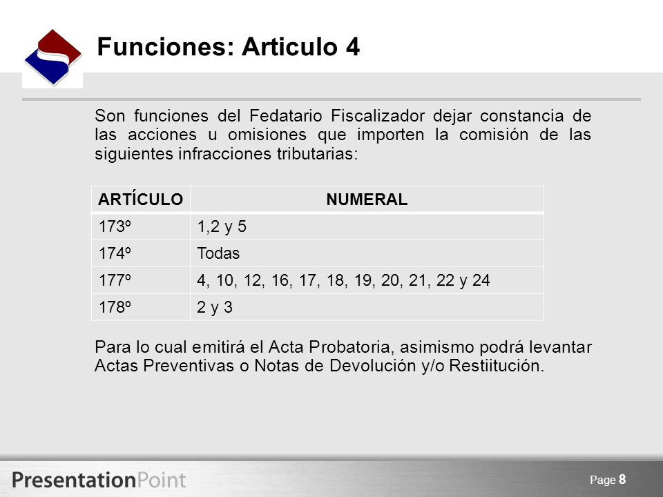 Funciones: Articulo 4