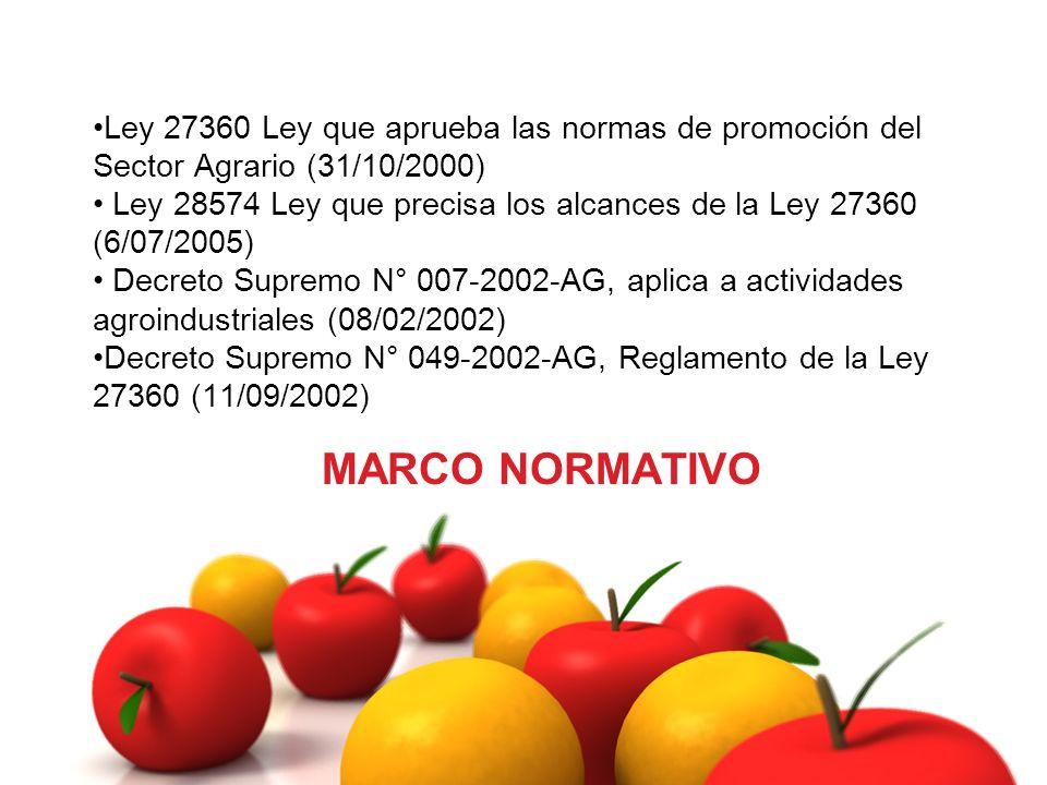 Ley 27360 Ley que aprueba las normas de promoción del Sector Agrario (31/10/2000)