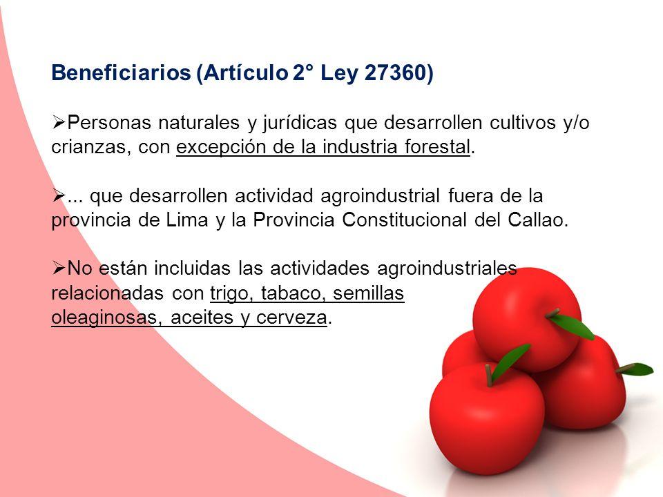 Beneficiarios (Artículo 2° Ley 27360)