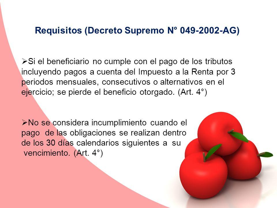 Requisitos (Decreto Supremo N° 049-2002-AG)