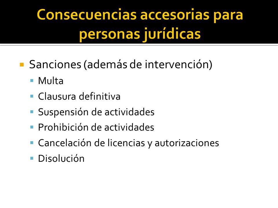 Consecuencias accesorias para personas jurídicas