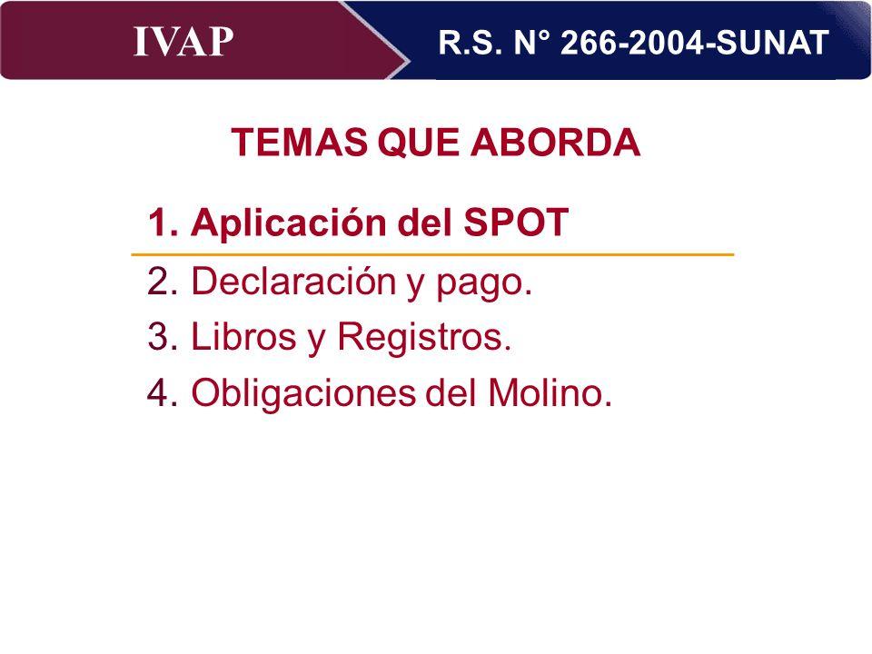 R.S. N° 266-2004-SUNAT TEMAS QUE ABORDA. Aplicación del SPOT. Aplicación del SPOT. Declaración y pago.