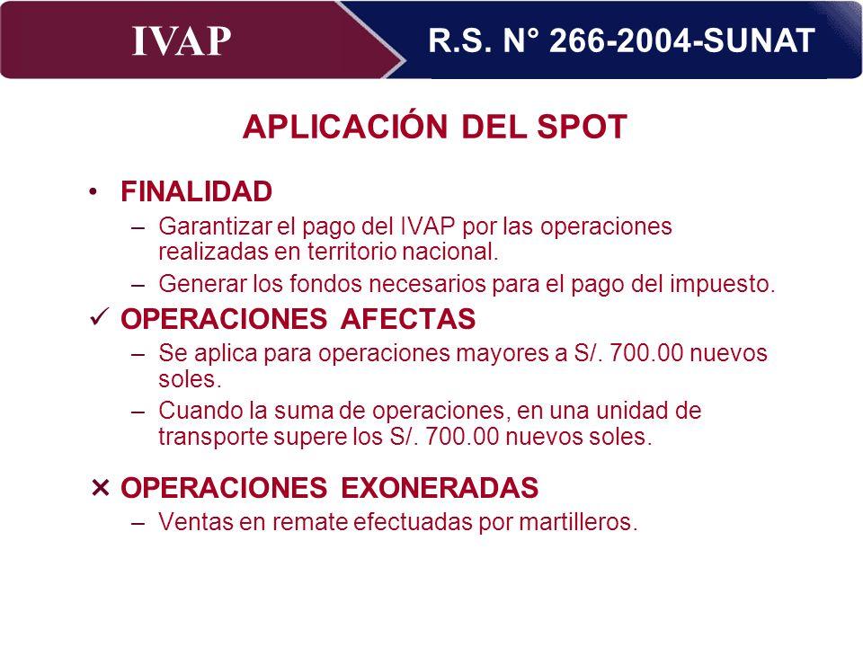 R.S. N° 266-2004-SUNAT APLICACIÓN DEL SPOT
