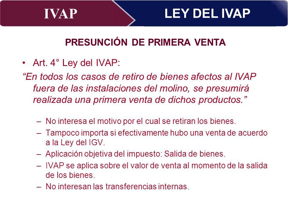 PRESUNCIÓN DE PRIMERA VENTA