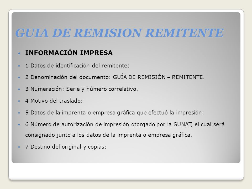 GUIA DE REMISION REMITENTE