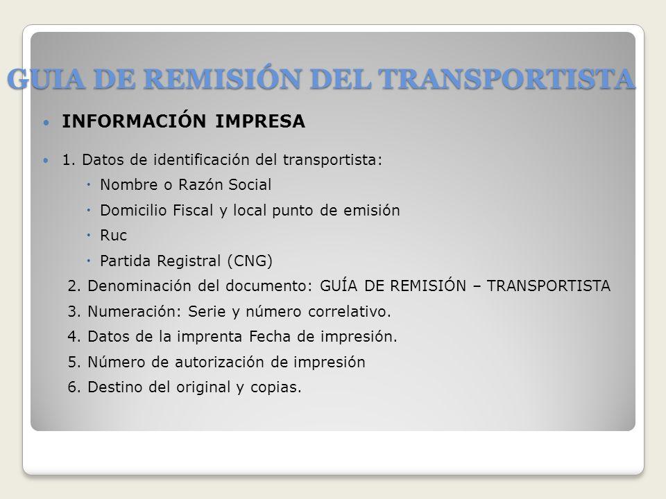 GUIA DE REMISIÓN DEL TRANSPORTISTA