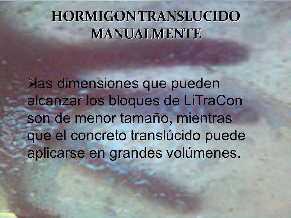 HORMIGON TRANSLUCIDO MANUALMENTE