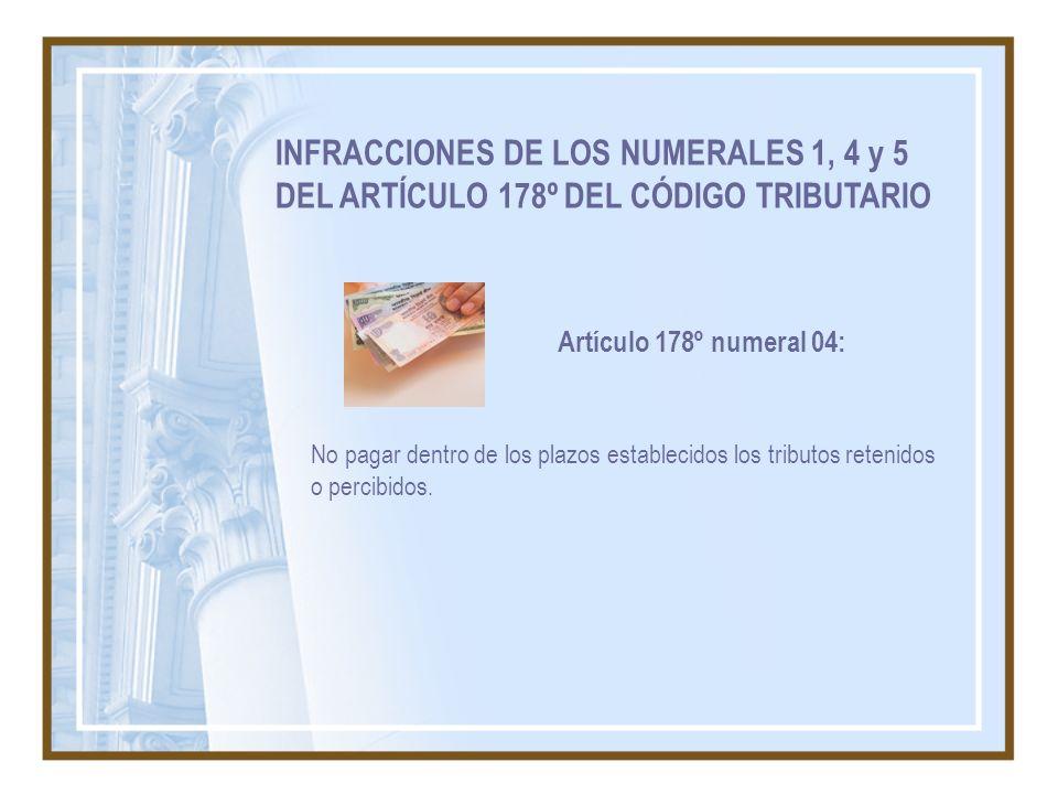 INFRACCIONES DE LOS NUMERALES 1, 4 y 5 DEL ARTÍCULO 178º DEL CÓDIGO TRIBUTARIO