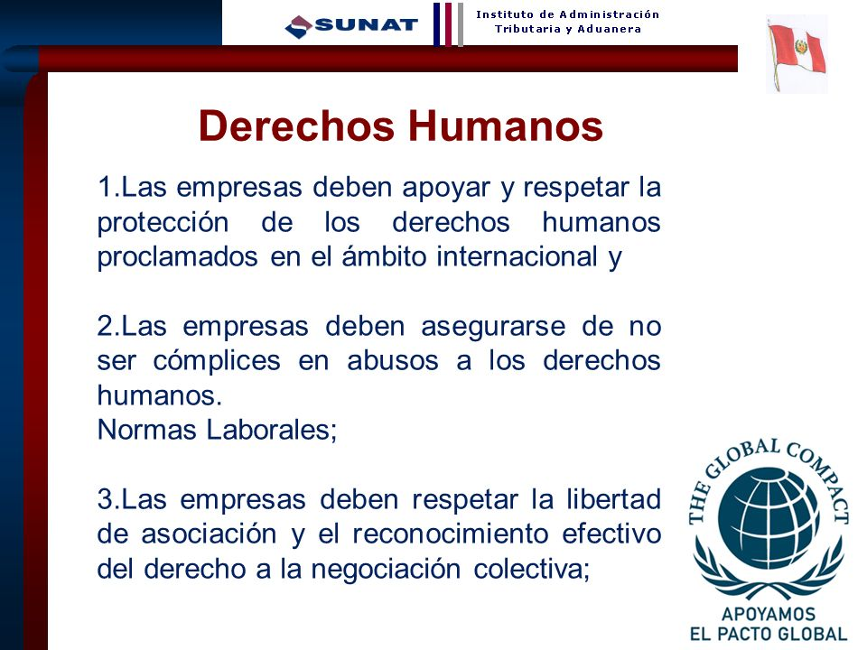 Derechos Humanos 1.Las empresas deben apoyar y respetar la protección de los derechos humanos proclamados en el ámbito internacional y.