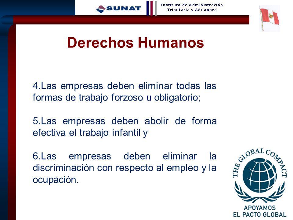 Derechos Humanos 4.Las empresas deben eliminar todas las formas de trabajo forzoso u obligatorio;