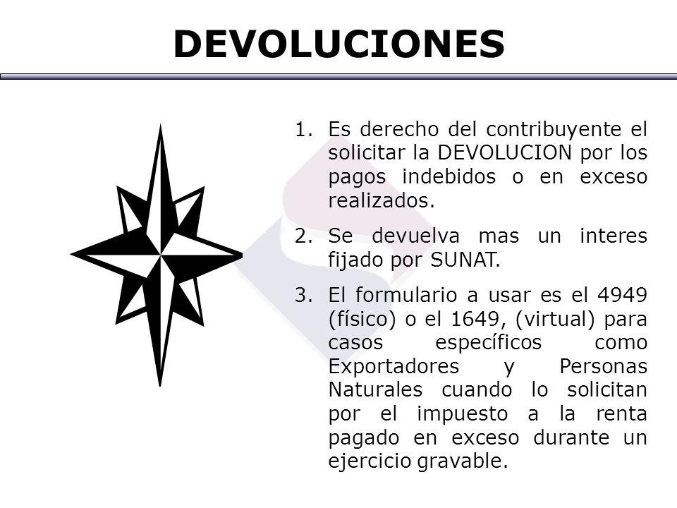 DEVOLUCIONES Es derecho del contribuyente el solicitar la DEVOLUCION por los pagos indebidos o en exceso realizados.