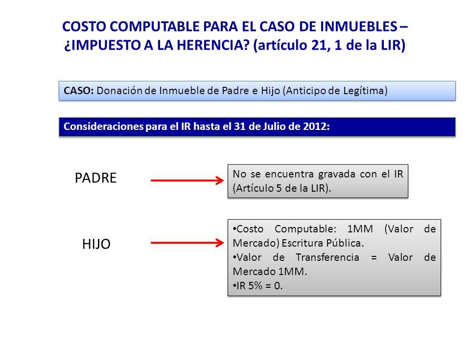 COSTO COMPUTABLE PARA EL CASO DE INMUEBLES – ¿IMPUESTO A LA HERENCIA