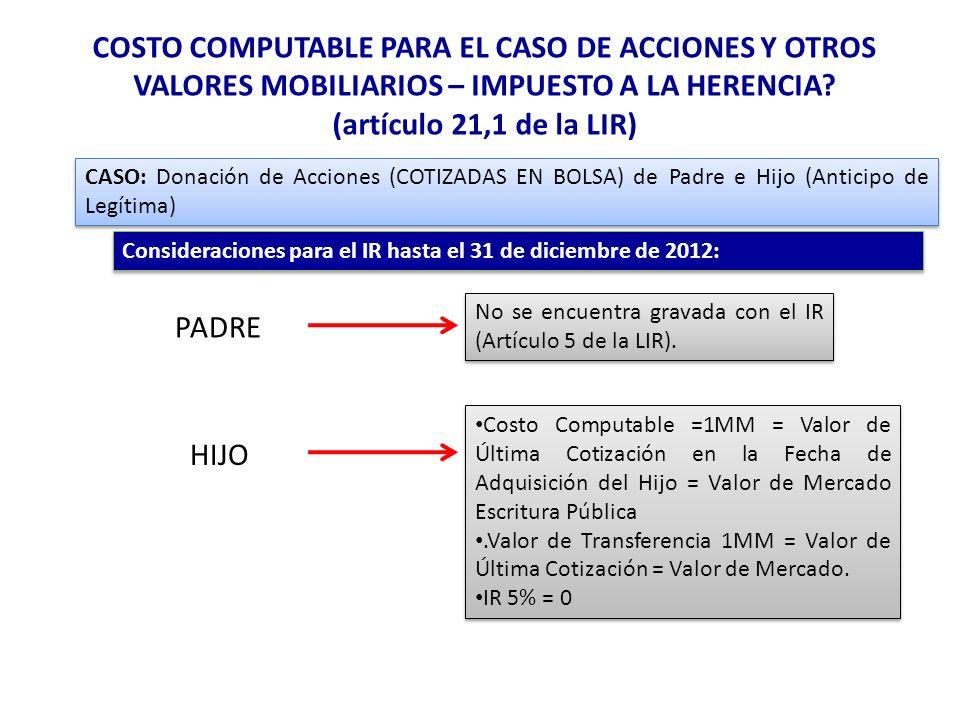 COSTO COMPUTABLE PARA EL CASO DE ACCIONES Y OTROS VALORES MOBILIARIOS – IMPUESTO A LA HERENCIA (artículo 21,1 de la LIR)