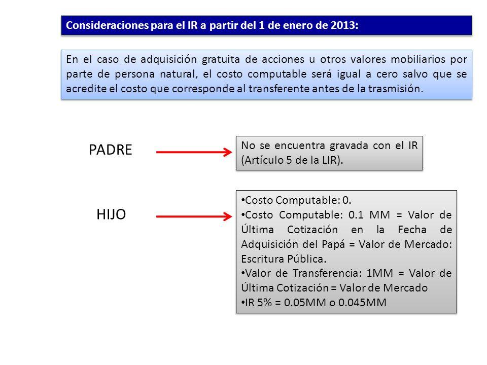 PADRE HIJO Consideraciones para el IR a partir del 1 de enero de 2013: