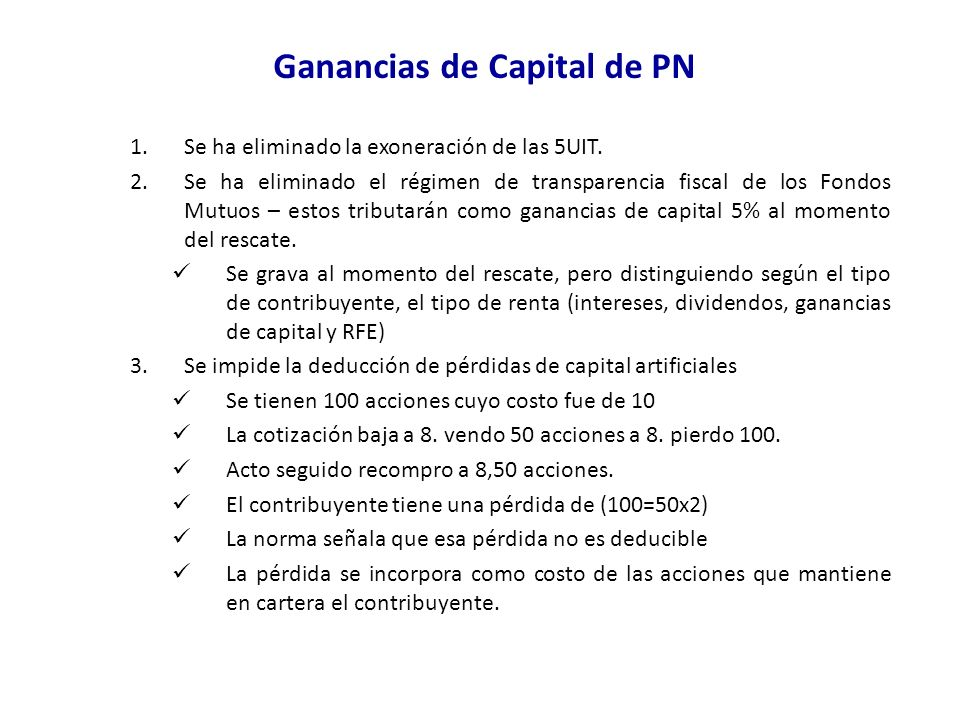Ganancias de Capital de PN
