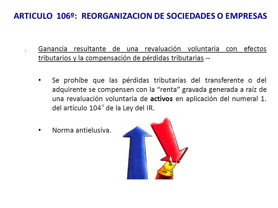 ARTICULO 106º: REORGANIZACION DE SOCIEDADES O EMPRESAS