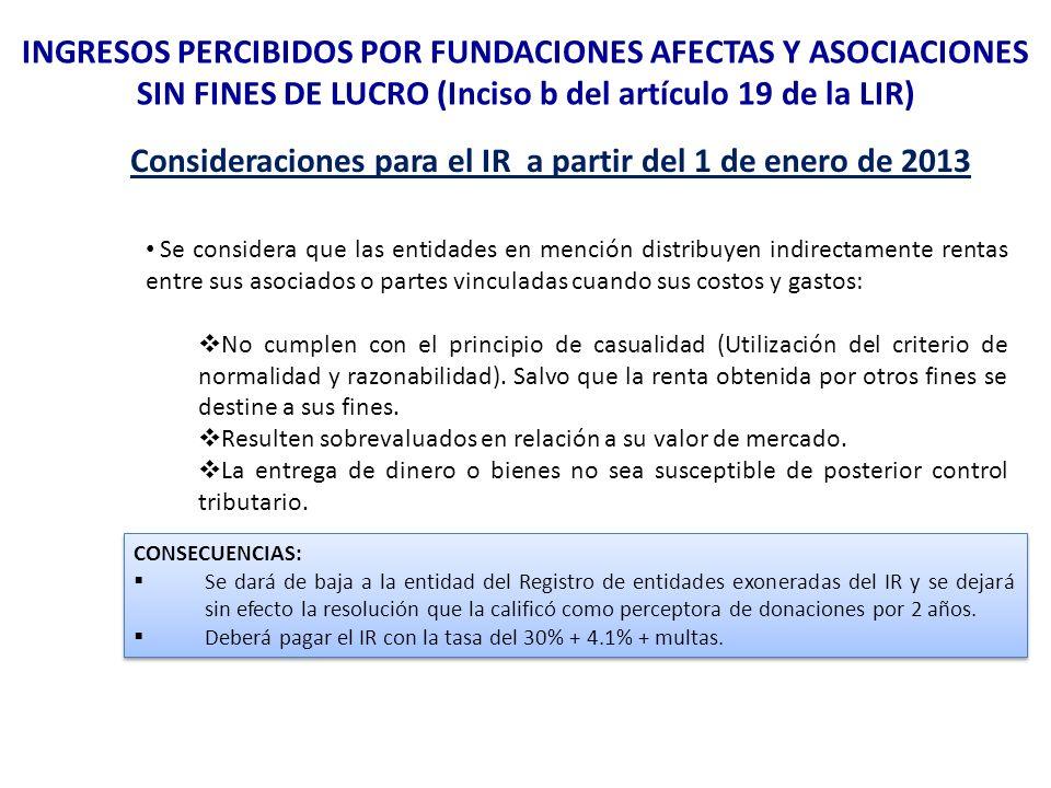Consideraciones para el IR a partir del 1 de enero de 2013