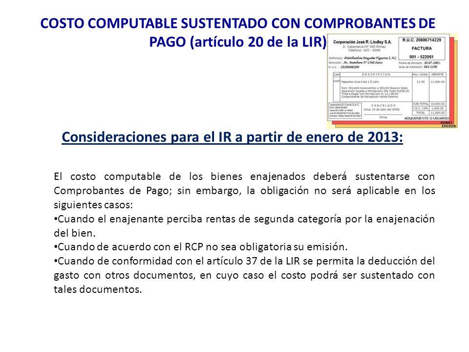 Consideraciones para el IR a partir de enero de 2013: