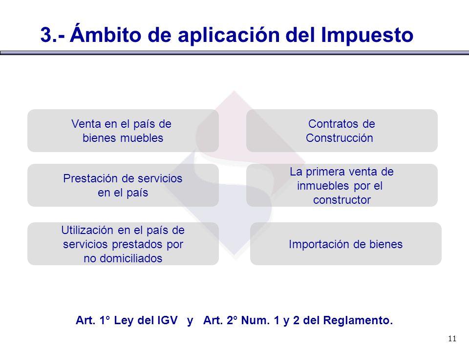 Art. 1° Ley del IGV y Art. 2° Num. 1 y 2 del Reglamento.