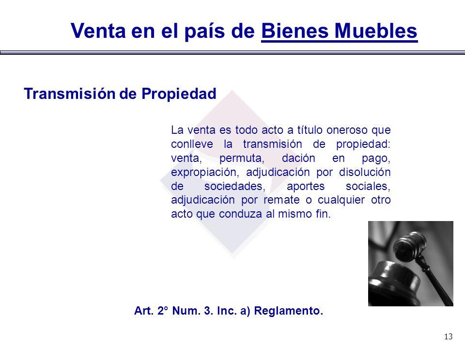 Transmisión de Propiedad Art. 2° Num. 3. Inc. a) Reglamento.