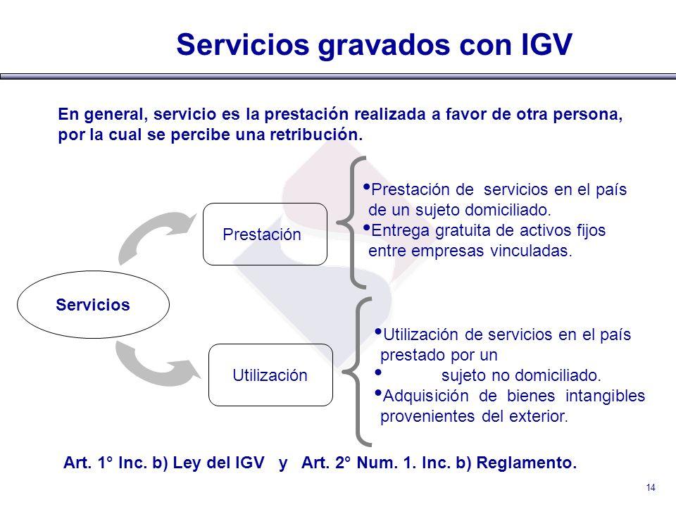 Servicios gravados con IGV