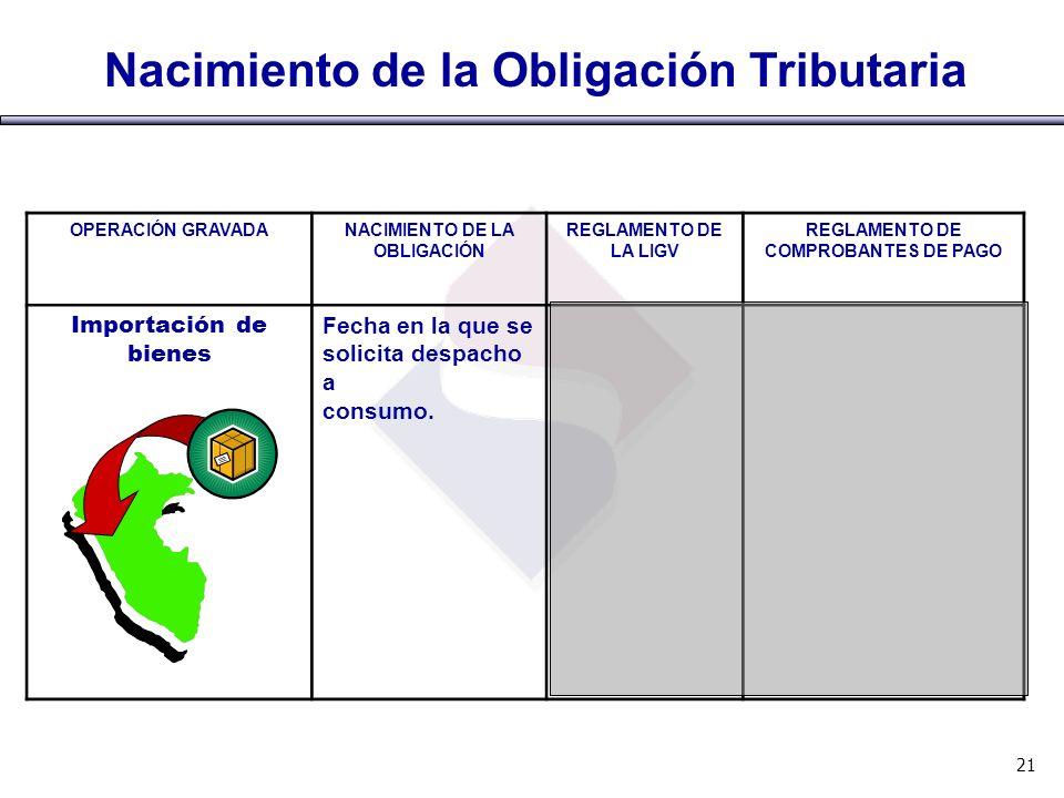 NACIMIENTO DE LA OBLIGACIÓN REGLAMENTO DE COMPROBANTES DE PAGO