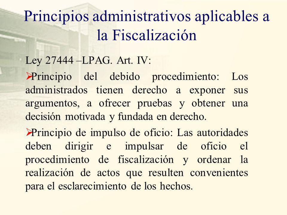 Principios administrativos aplicables a la Fiscalización