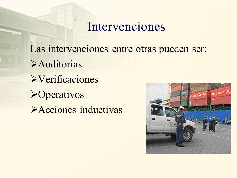 Intervenciones Las intervenciones entre otras pueden ser: Auditorias