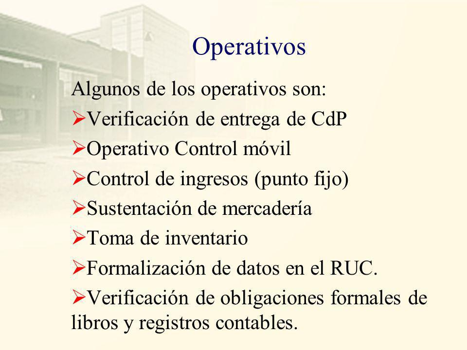 Operativos Algunos de los operativos son:
