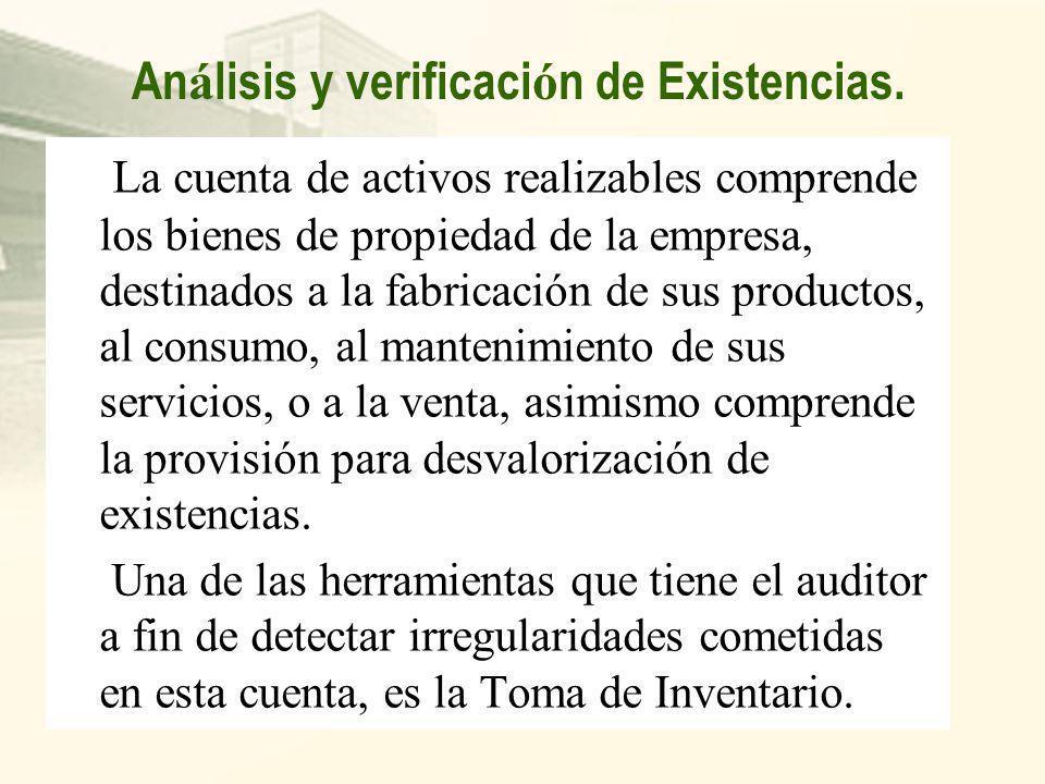Análisis y verificación de Existencias.