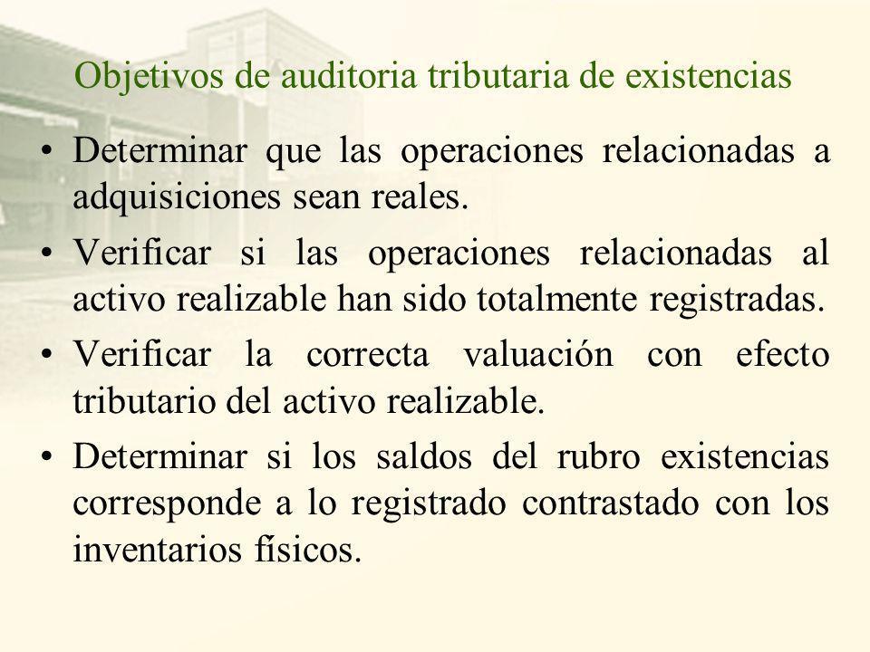 Objetivos de auditoria tributaria de existencias