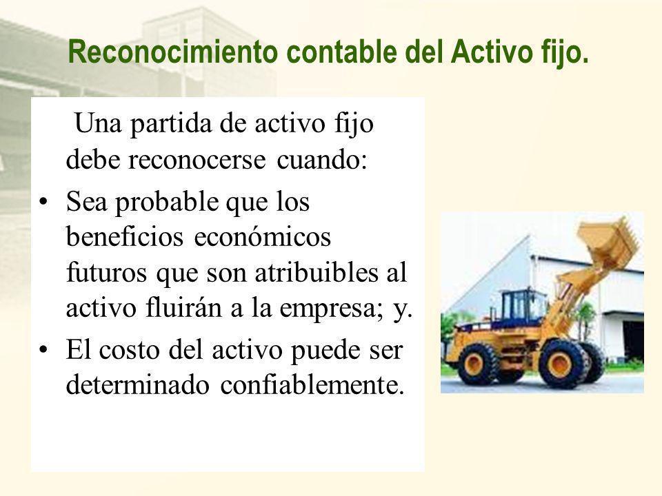 Reconocimiento contable del Activo fijo.