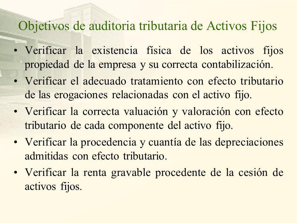 Objetivos de auditoria tributaria de Activos Fijos