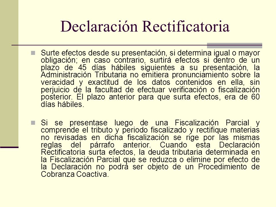 Declaración Rectificatoria