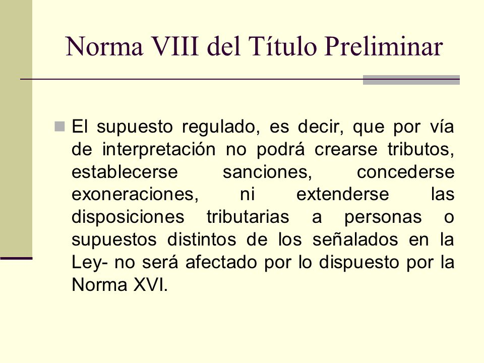 Norma VIII del Título Preliminar
