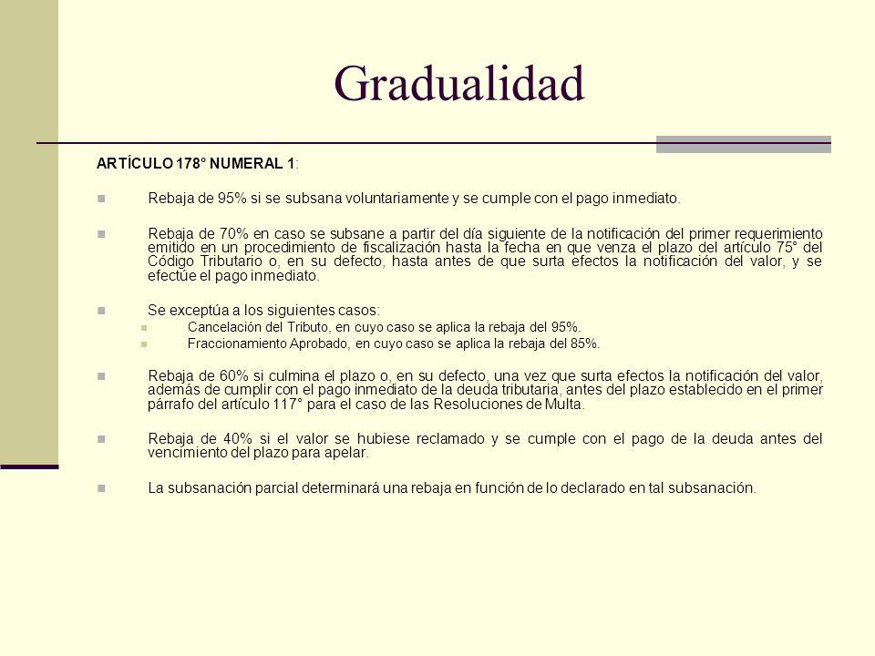 Gradualidad ARTÍCULO 178° NUMERAL 1: