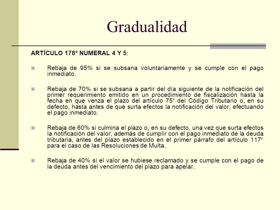 Gradualidad ARTÍCULO 178° NUMERAL 4 Y 5: