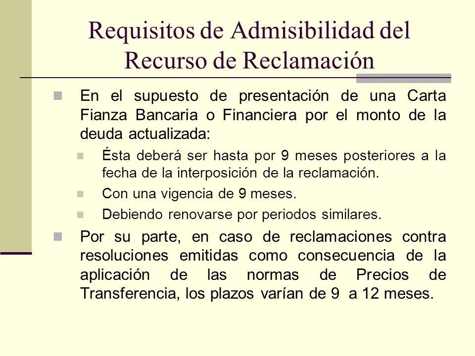 Requisitos de Admisibilidad del Recurso de Reclamación