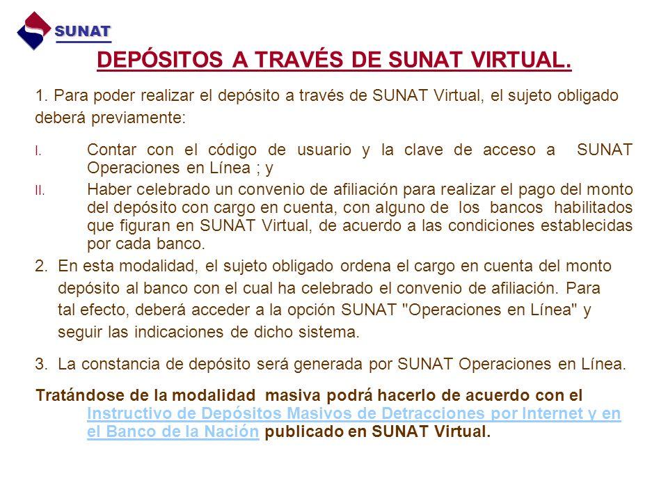 DEPÓSITOS A TRAVÉS DE SUNAT VIRTUAL.