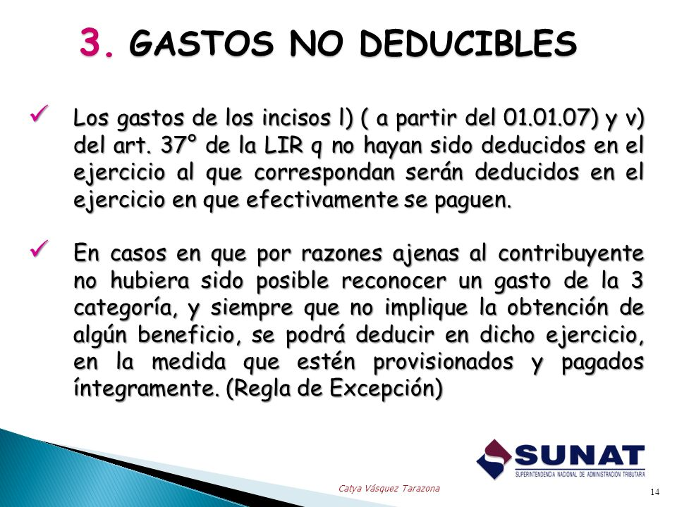 3. GASTOS NO DEDUCIBLES
