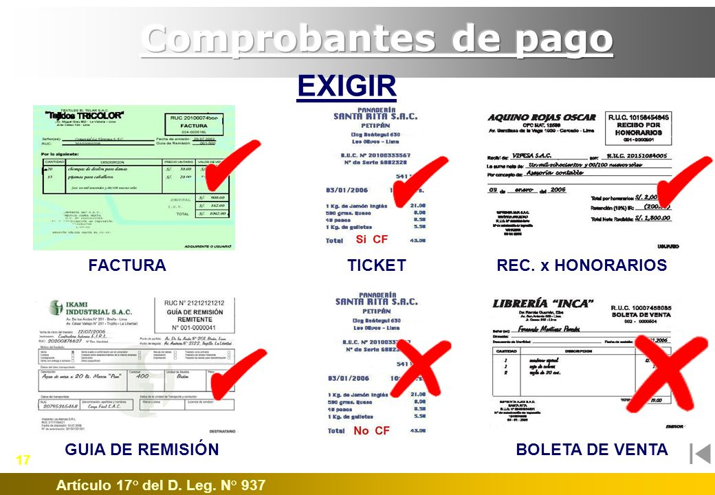 Comprobantes de pago EXIGIR FACTURA TICKET REC. x HONORARIOS