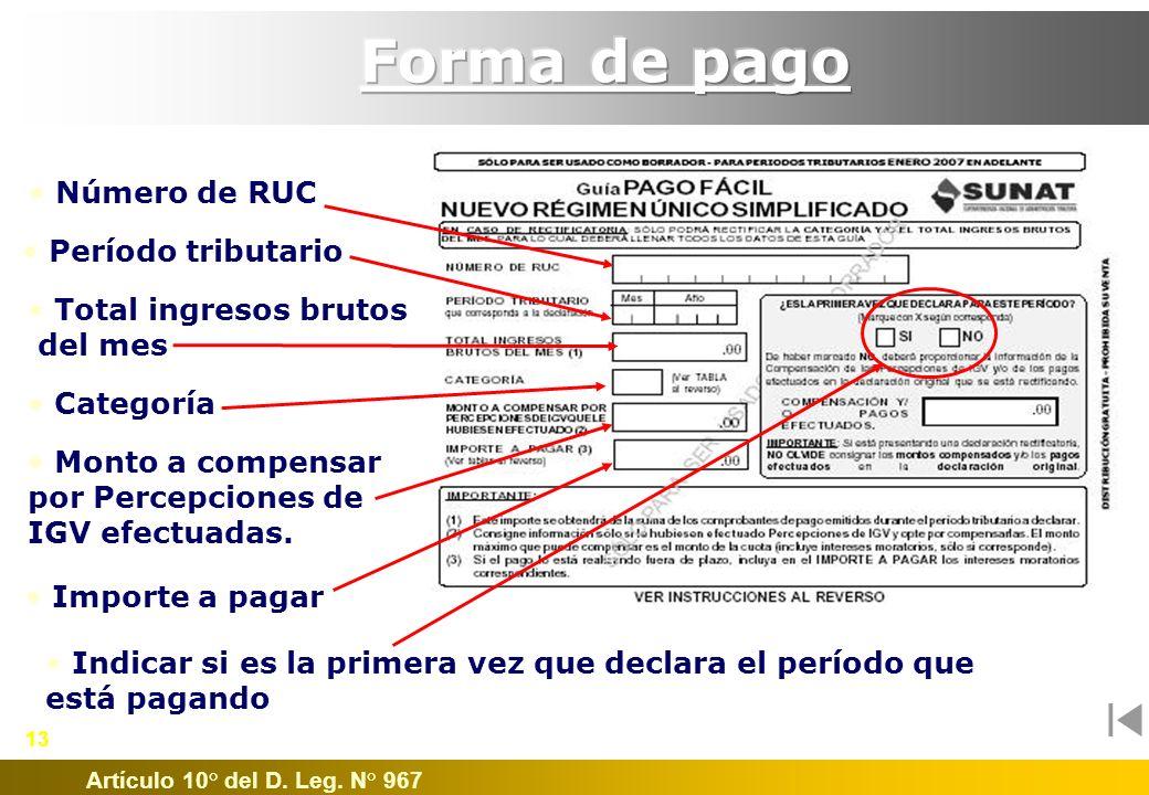 Forma de pago Número de RUC Período tributario Total ingresos brutos