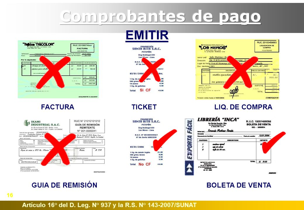 Comprobantes de pago EMITIR FACTURA TICKET LIQ. DE COMPRA
