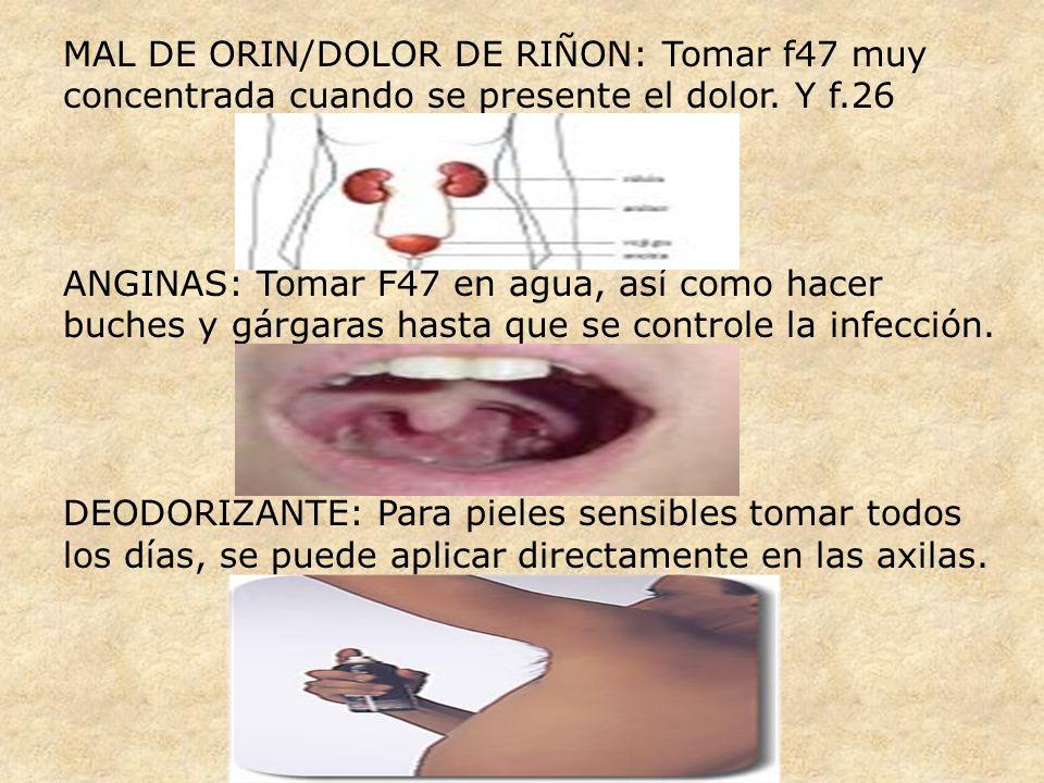 MAL DE ORIN/DOLOR DE RIÑON: Tomar f47 muy concentrada cuando se presente el dolor. Y f.26