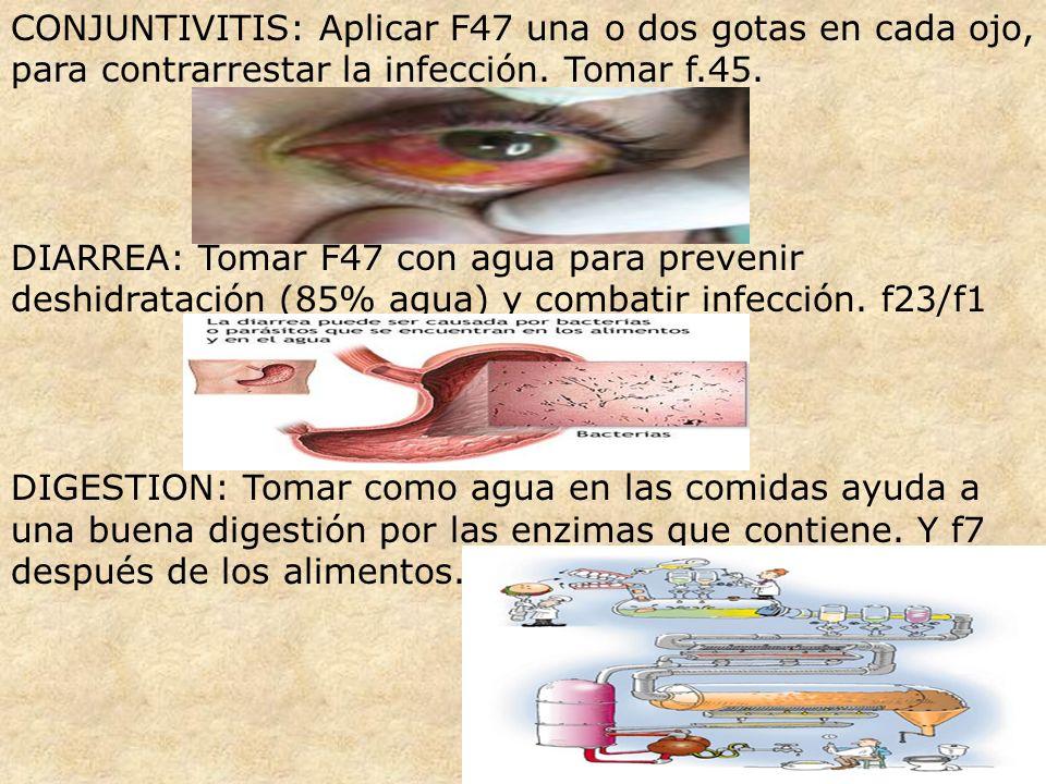 CONJUNTIVITIS: Aplicar F47 una o dos gotas en cada ojo, para contrarrestar la infección. Tomar f.45.