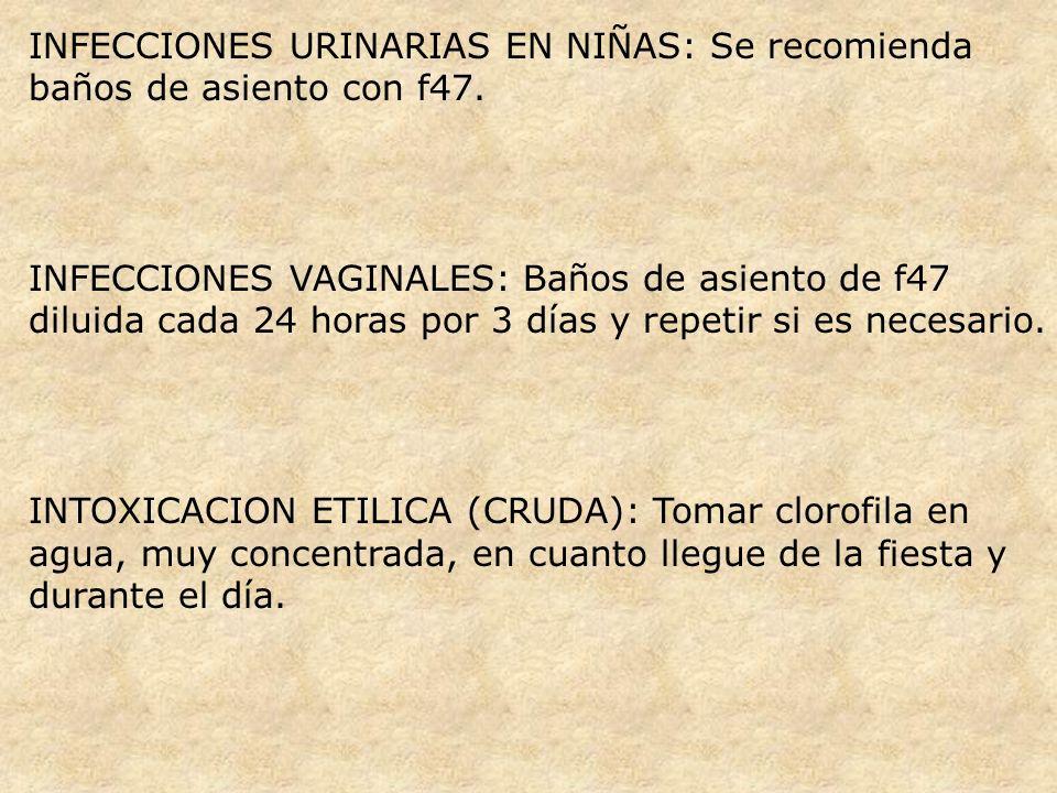 INFECCIONES URINARIAS EN NIÑAS: Se recomienda baños de asiento con f47.
