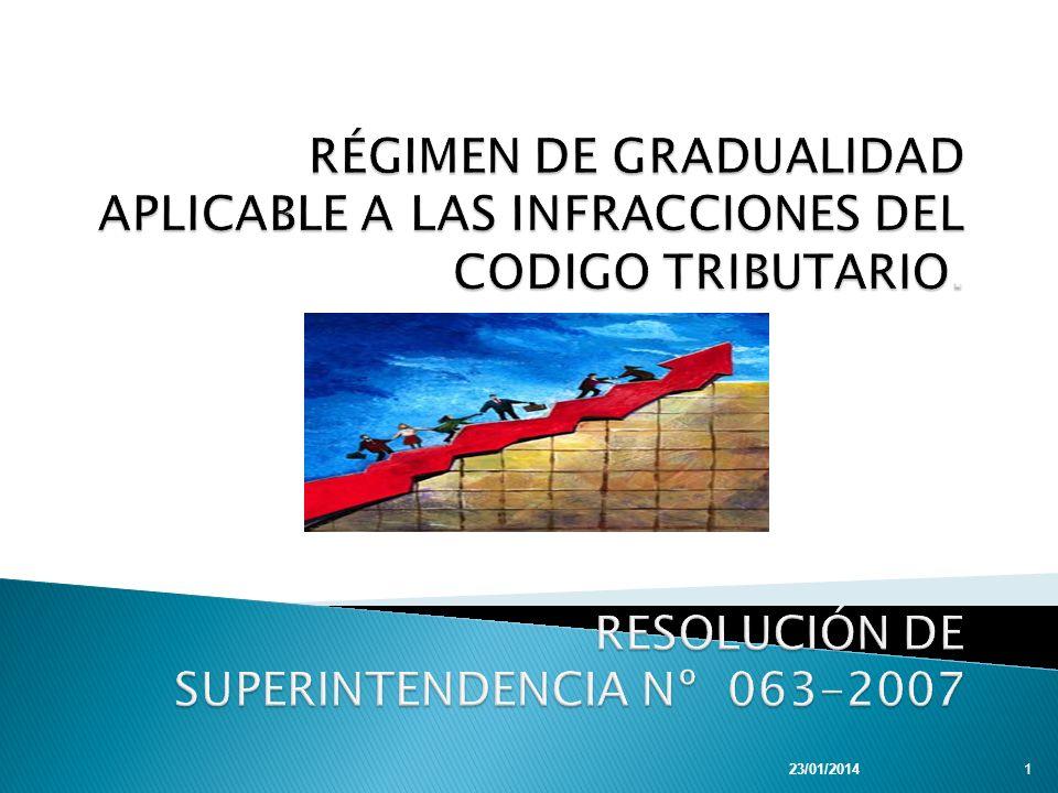 RÉGIMEN DE GRADUALIDAD APLICABLE A LAS INFRACCIONES DEL CODIGO TRIBUTARIO. RESOLUCIÓN DE SUPERINTENDENCIA Nº 063-2007