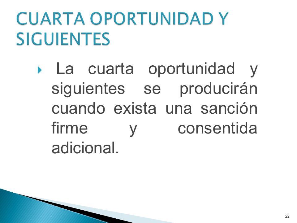 CUARTA OPORTUNIDAD Y SIGUIENTES